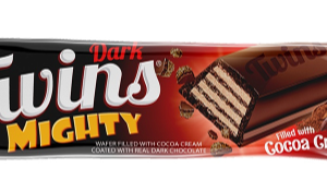 Twins Mighty Wafer filled with Cocoa Cream coated Dark Chocolate