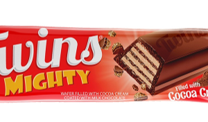 Twins Mighty Wafer filled with Cocoa Cream coated Milk Chocolate